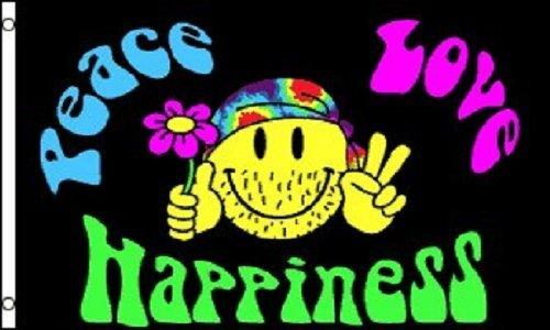 Paz Amor y Felicidad Hippie Bandera de poliéster, 3'x 5'