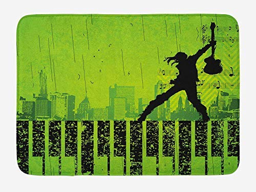 Popstar Party Bath Mat, Music in The City Theme Singer with Electric Guitar on Grunge Backdrop 23.6 W X 15.7 W Inches - Popstar Guitar