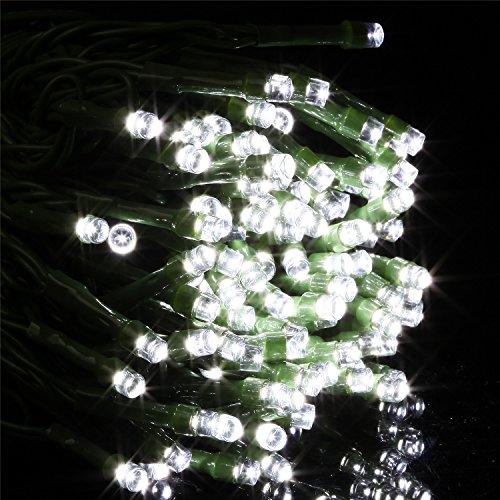 Samoleus 12M LED Guirlande avec Capteur de Luminosité, 1,2 V 100 LEDs étanche IP44, Guirlandes portable, à L'extérieur, Guirlande LED pour fête, Mariage et Noël, Lumières de Noël (Blanc-12M)