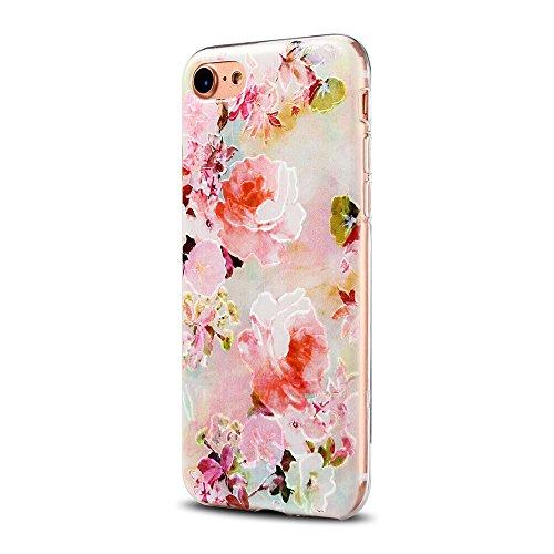 Cover iPhone 7 Custodia iPhone 7 Silicone Anfire Morbido Flessibile Gel TPU Case per Apple iPhone 7 (4.7 Pollici) Ultra Sottile Slim Clear Trasparente Copertura Ultra Leggera Antiurto Gomma Protettiva Rose rosa
