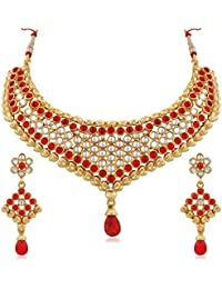 Apara Classy Red And White Kundan Necklace Set For Women / Girls
