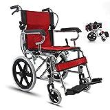 HSRG Carrozzina da Trasporto Leggera Pieghevole in Acciaio, con braccioli Flip Back Desk, poggiapiedi Swing Away, per Anziani, disabili, per Adulti,Red