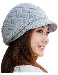 Bonnet Femme, Koly Mode féminine Hat hiver skullies Bonnets Chapeaux Tricotés Rabbit Fur Cap