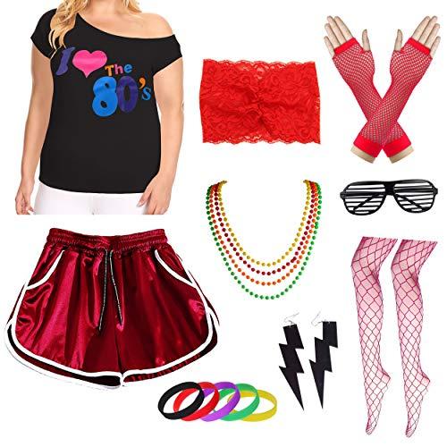 Womens Plus Size Ich Liebe die 80er Jahre T-Shirt mit Shorts Kostümzubehör-Set (3X/4X, Red) (3x-4x Size Halloween-kostüme Für Plus Frauen)