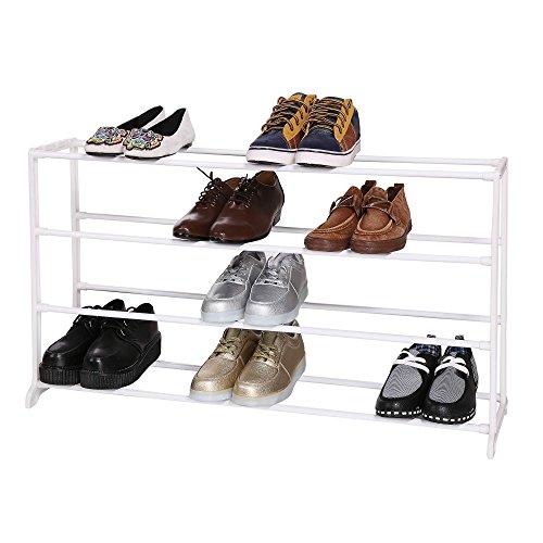 aceshin Zapatero Metalico de 4 Niveles Estantería de Zapatos Estante de Zapatos Portátil Blanco