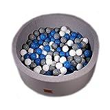 Bällebad Bällepool Bällebecken Spielbälle Kugelbad Bällchenbad Spielbecken Golden Kids Ball Bällepool 200 Bälle 7 cm TÜV zertifiziert (Grau - Rund)