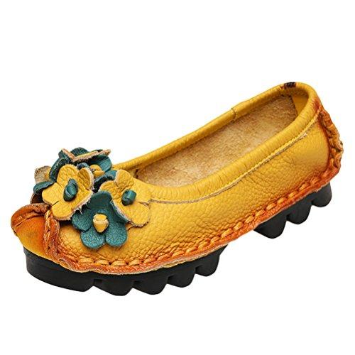 Stile In Vogstyle Vintage Scarpe Primavera Fatta Giallo Mano Donna Pelle 2 Autunno Fiore 85F5qwUr