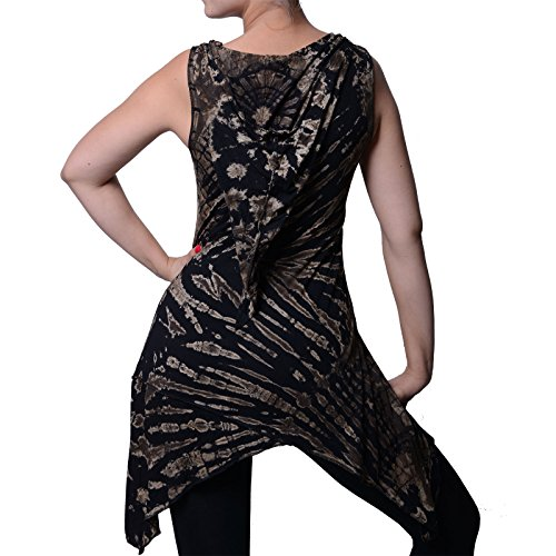 Tunika mit Zipfelkapuze Buntes Tie Dye Batik Hippie Goa Kapuzenkleid Damen Minikleid von Kunst und Magie Black / Schwarz