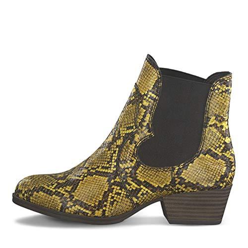 Botines estilo piel de serpiente amarillo mostaza
