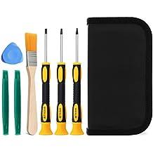 Fosmon Game, Controller, Konsole Reparatur Werkzeug Kit Set mit Torx-, magnetische Schraubenzieher T6|T8|T10 [8-teilig] für Xbox / 360 Xbox One Controller & Konsole / PS3 & PS4 Konsole