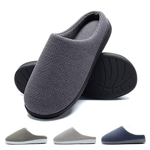 Pantofole da casa per uomo, ultra-leggero confortevole e antiscivolo, ciabatte da uomo per casa, grigio scuro, eu 46-47 (lunghezza 29-29.5cm)