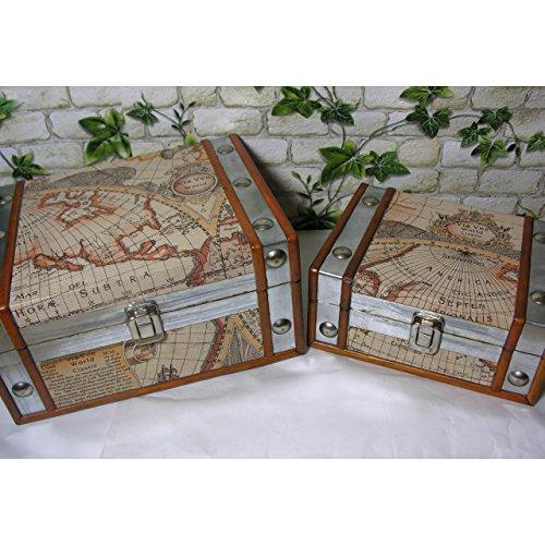 2er Set Aufbewahrungs-Kiste Atlas Weltkarte Schatulle Kasten Box Deko Truhe Holz Kunstleder Antik
