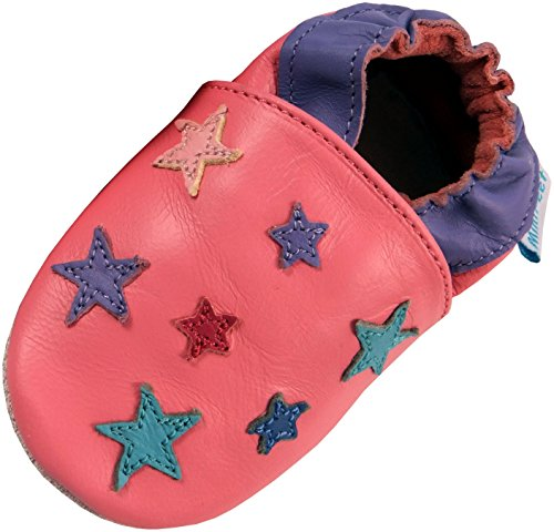 MiniFeet Premium Weich Leder Babyschuhe - Verschiedene Stile - Jungen und Mädchen BabySchuhe - Neugeborene bis 3-4 Jahre Rosa Sterne
