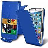 Blackview E7S - PU-Leder-Dia-Up / Down-Federtasche Top Flip Folio-Telefon-Kasten-Abdeckung mit Magneten Schließung & 3 Kreditkartenschlitz - Blue Clamp Flip