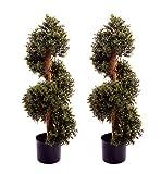 Best Artificial (TM), 2Stück, mit 3ft 90cm Buchsbaum Topiary Spirale mit UV-Verblassen geschützt