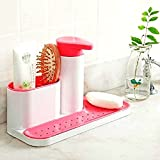 #6: CONNECTWIDE® Bathroom Organiser With Soap Dispenser Kitchen sink organizer caddy holder for sponges, soap, scrubbers, cleaning brush, great suction cup organization tray for kitchen or bathroom.(1 pc)