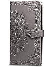 Oihxse Funda con Realme X, Cuero PU Billetera Cierre Magnético Flip Libro Folio Tapa Carcasa Relieve Soporte Plegable Ranuras para Tarjetas Protección Caso(Gris)