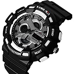 YISUYA Men Sports Watch 3ATM Dive Waterproof Blacklight Digital Chronograph Military Multifunctional Outdoor Wristwatches