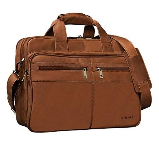 STILORD  Alexander  Borsa da lavoro uomo pelle marrone portadocumenti  grande borsa porta PC ventiquattrore da ufficio cartella per la scuola borsa  a ... 11cc575f40b