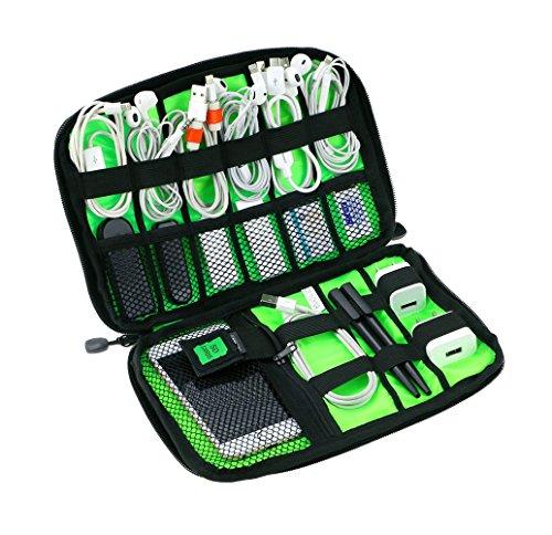 MiMoo Universal Electronics Zubehör Reisetasche, Kabel Organizer mit Kabelbinder und Griff, Kabelaufbewahrungsbeutel für Ladekabel, Handy, Mini Tablet, schwarz
