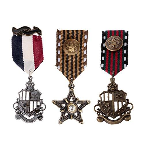 Homyl 3 Stücke Herren Vintage Navy Stil Stern Medaille Kette Brosche Anstecknadeln Schmuck (Navy Sterne)