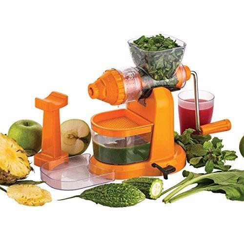 Kitchen Bazaar Jumbo Juicer with Steel Handle and Pusher (Orange)