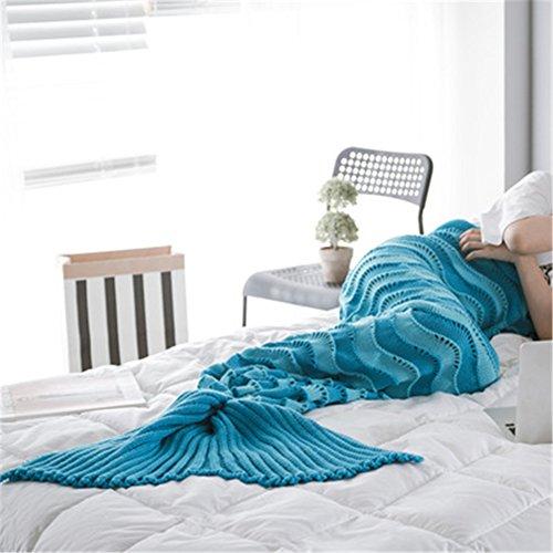 yue-couverture-Queue Meerjungfrau Erwachsene Plaid Erwachsene Warm Strick für Sofa Wohnzimmer Bett Zimmer Modern blau