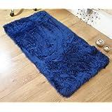 Royal blue navy faux fur oblong rectangle sheepskin rug 70 x 140 cm washable