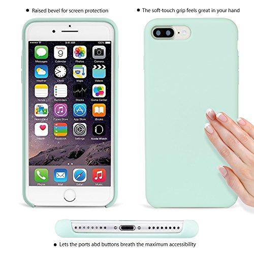 iPhone 8 Plus Hülle, Fuleadture iPhone 7 Plus Liquid Silikon Schutzhülle Flüssigsilikon Mikrofaser Case Cover für iPhone 7 Plus/ 8 Plus Mintgrün