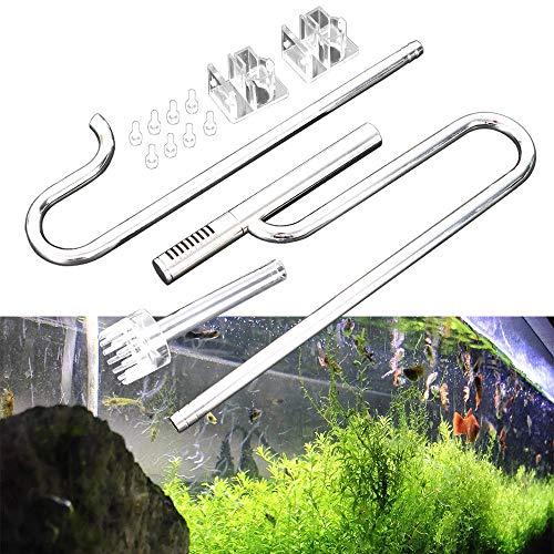 OUKANING Aquarium Wasseroberfläche Skimmer Filterrohr Edelstahl Einlauf Auslauf Wasserleitung (16mm)