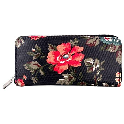 Zip Wallet Schwarz Floral Made mit PU von Joe Cool - Floral Wallet