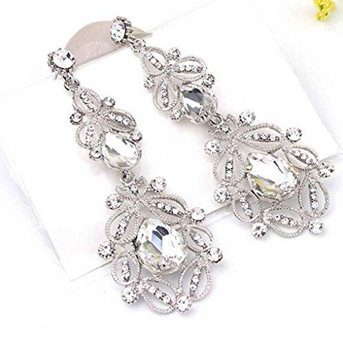 Republe 1 Paar große lange Kristalltropfen-Ohrring-Frauen-Weinlese-Blumen-Braut Ohrringe Mädchen Ohrringe Hochzeit Schmuck