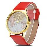 Reloj vintage retro con cuarzo analógico diseño globo terraqueo mundo - Rojo