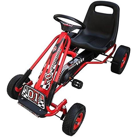 Go-kart rojo de pedales con silla ajustable