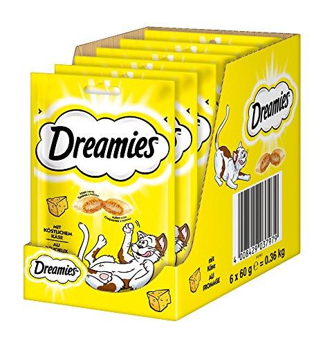 Dreamies Katzensnacks Klassiker / Katzenleckerli mit wertvollen Vitaminen und Mineralstoffen / Käse / 6 x 60g
