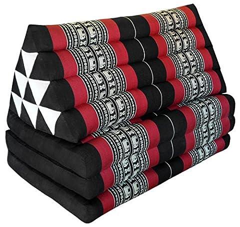 Kapok Thaikissen Kissen mit drei Auflagen XXL, schwarz/rot Elefant