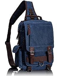 Leaper Canvas One Strap Sling Cross Body Messenger Bag Shoulder Backpack Rucksack (Medium, Dark Blue)