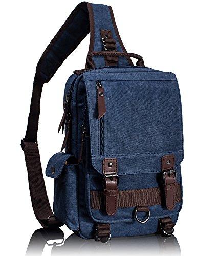 Leaper Vintage Canvas Rucksack Handtasche Schultasche für Outdoor Außflug Sport(XS,Armeegrün) XS,Dunkelblau