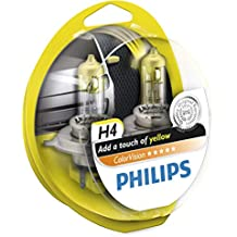 Philips ColorVision Bombilla para faros delanteros amarilla 12342CVPYS2, bombilla para coches (60W, H4