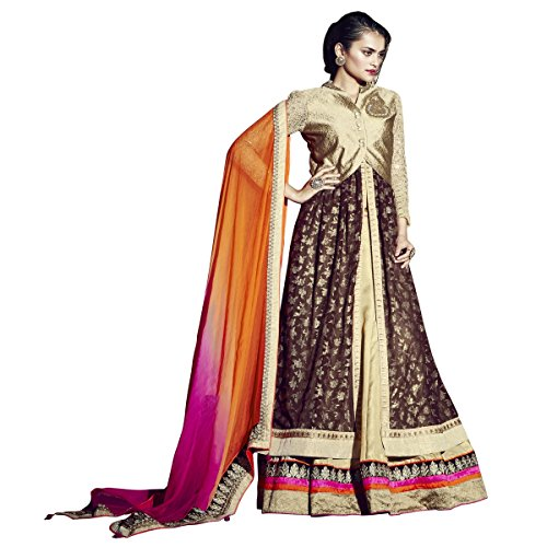 Triveni Sarees Women's Shimmer Lehenga Choli - TSN88013_Golden