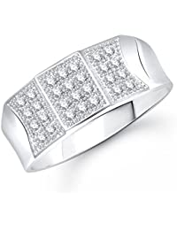 Meenaz Solitaire Ring Valentine Love Silver Ring For Girl And Women In American Diamond Cz Fr298