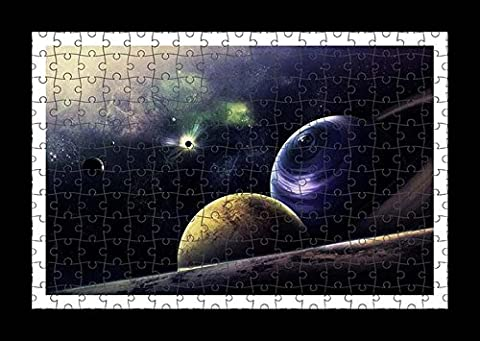 Puzzle Style (Pre-assembled) Wall Print of Planets Circle Flash Radiance Galaxy by Lisa Loft