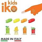 iKo Kids spazzolino da dito per bambini kit 2 pezzi, spazzolino denti senza bisogno di acqua e dentifricio, rilascia fluoro durante l'utizzo, pratico e igienico fino a 100 utilizzi, gusto mela verde