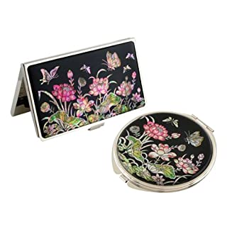 Mother of Pearl Pink Lotus Flower Design Compact Mirror Business Credit Name Card Holder Set Stainless Steel Engraved Slim Id Money Case by Antique Alive card case