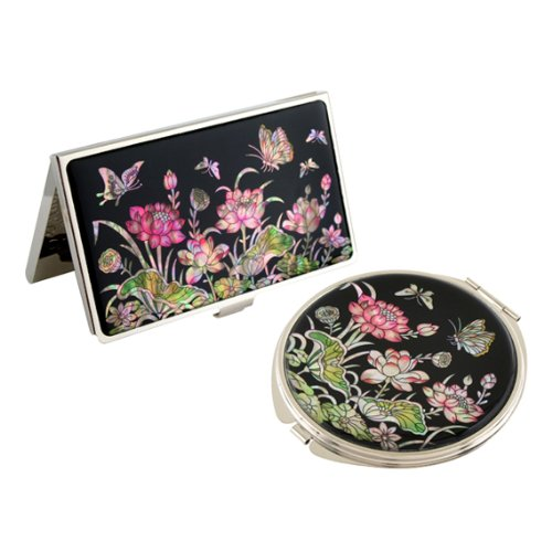 Flower Compact (Mother of Pearl Pink Lotus Flower Design Compact Mirror Business Credit Name Card Holder Set Stainless Steel Engraved Slim Id Money Case by Antique Alive card case)