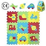 LUDI - Tapis de sol épais pour l'éveil de bébé - 1051 - puzzle géant aux motifs Véhicules - dès 10 mois - lot de 9 dalles en mousse multicolores et 18 éléments pour tapis de jeu.