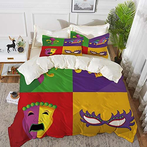 rofaser, Mardi Gras, Bunte Rahmen mit Mardi Gras Icons Masken Harlekin Hut und Fleur De Lis Print, Multicolor,1 Bettbezug 220 x 240cm + 2 Kopfkissenbezug 80x80cm ()
