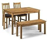 Julian Bowen Coxmoor Eiche Massiv Esstisch mit Stühlen und Bank, Größe: Tisch H 75cm, B 75cm, L 118cm