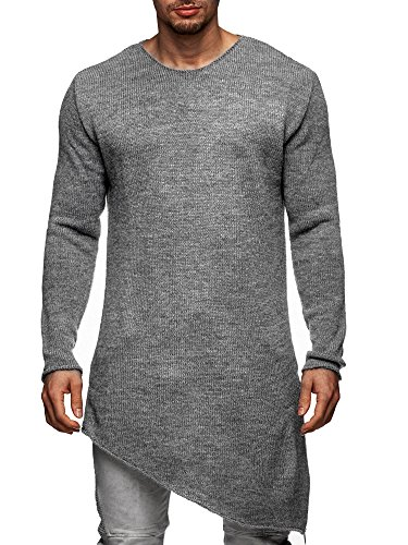 S!RPREME Herren Oversize Zipped Strickpullover Pullover Jacke Hoodie Hoody Kapuze 8025CECE Grau L