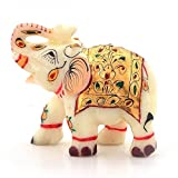 #10: Little India Rajasthani Handmade Elephant Marble Handicraft (146, White)